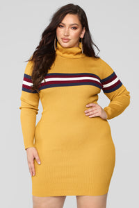 Feels Like Fall Sweater Dress - Mustard/Combo
