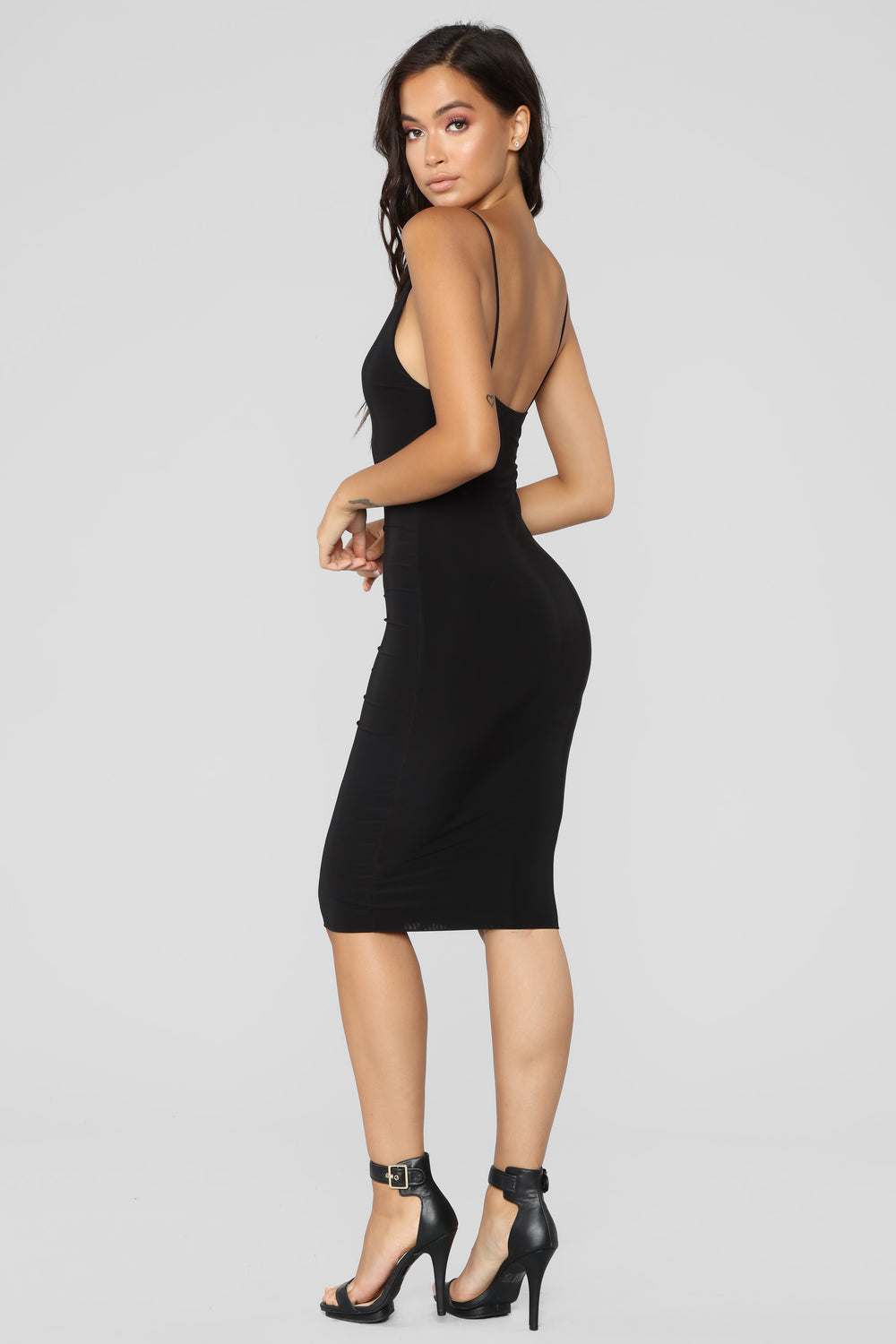 Anne Marie Midi Dress - Black