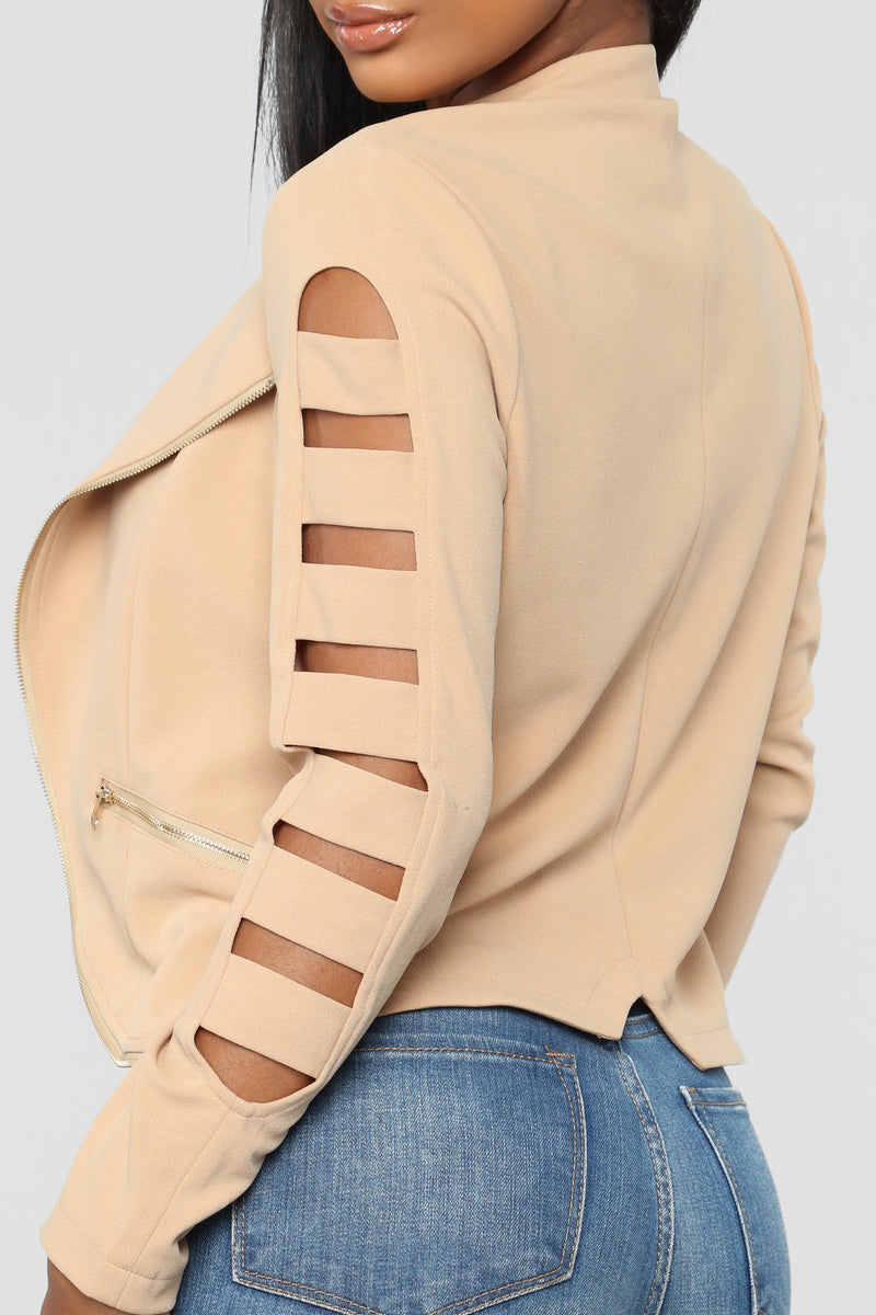 Cut It Out Moto Jacket - Nude
