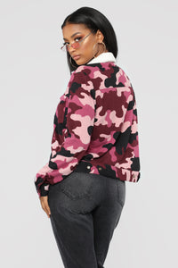 Casual Lover Camo Collared Jacket - Mauve/combo