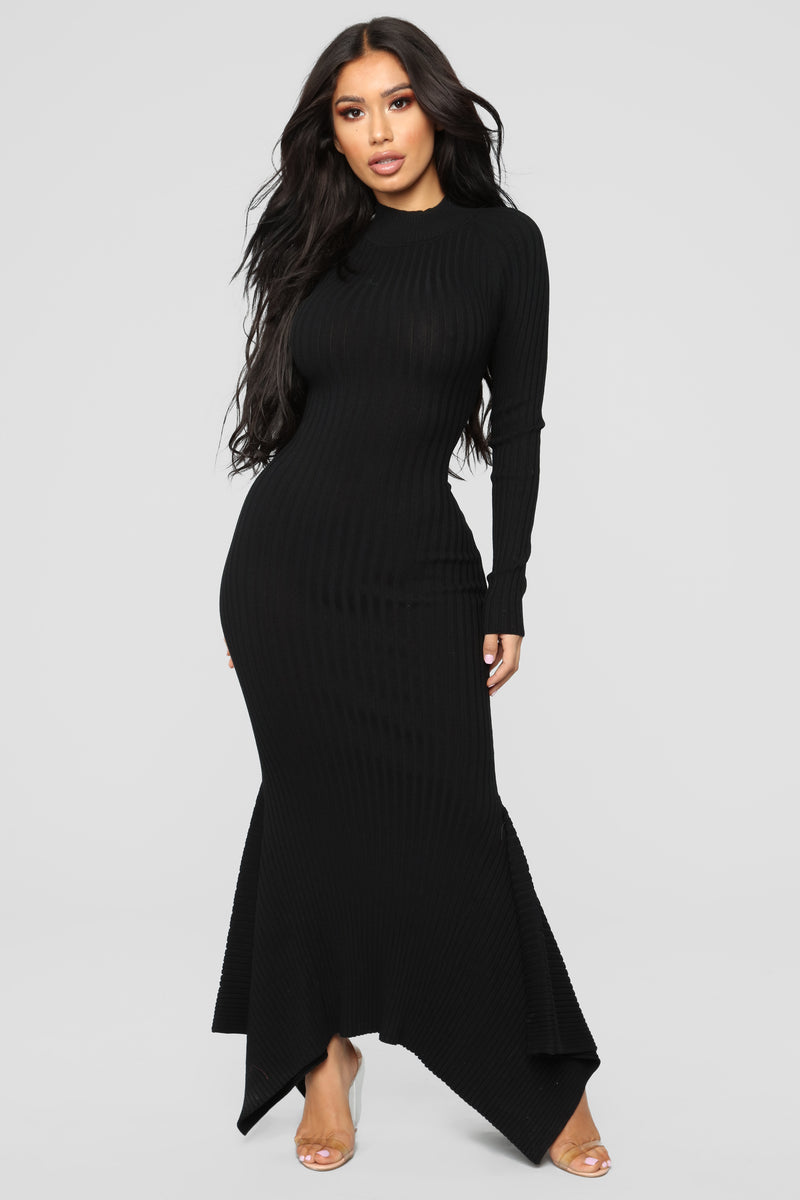 Left My Heart In Rome Mermaid Dress - Black