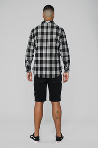 Leon Long Sleeve Flannel Top - Black/Combo