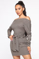 On A Thin Line Off Shoulder Dress - Black/Taupe