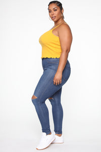 Wherever Or Whenever Tank Top - Mustard Angle 4