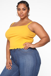 Wherever Or Whenever Tank Top - Mustard Angle 3