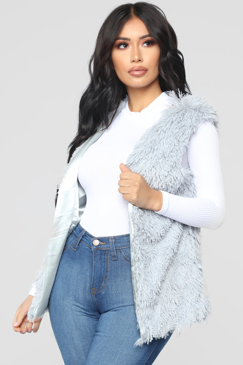 f66ea9c7810f Essential Faux Fur Vest - Grey
