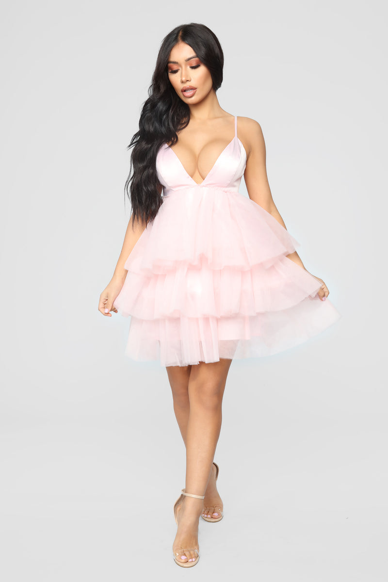 She Bad Ruffle Dress - Blush