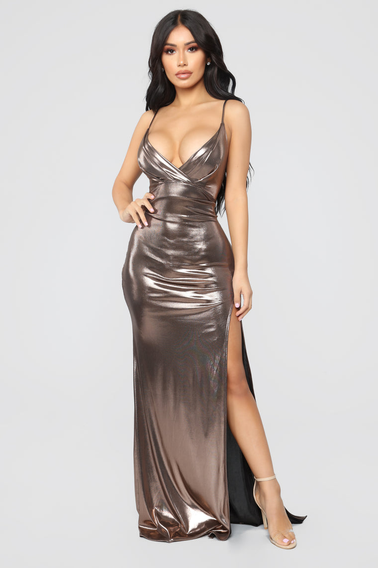 All Eyes On Me Foil Dress - Bronze