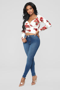 Dustine Floral Wrap Front Top - Off White Angle 2