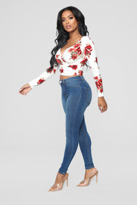 Dustine Floral Wrap Front Top - Off White Angle 4