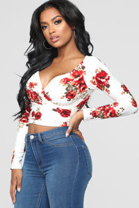 Dustine Floral Wrap Front Top - Off White Angle 3