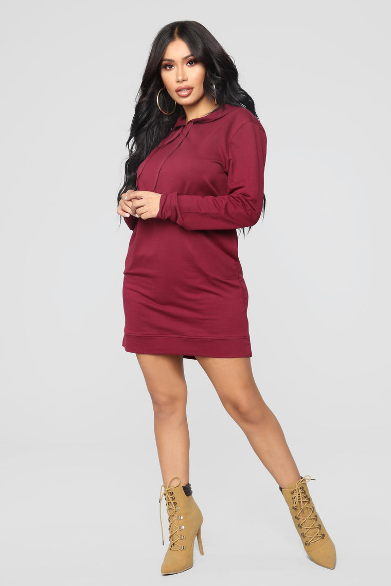 Terran Pullover Sweatshirt Dress - Burgundy