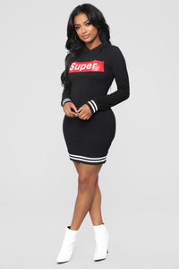 Super Nova Hoodie Tunic Dress - Black