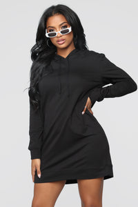 Terran Pullover Hoodie Dress - Black Angle 1