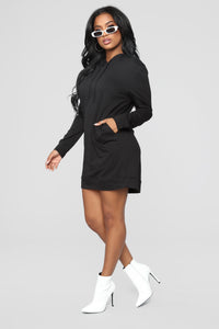 Terran Pullover Hoodie Dress - Black Angle 4