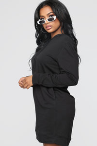 Terran Pullover Hoodie Dress - Black Angle 3