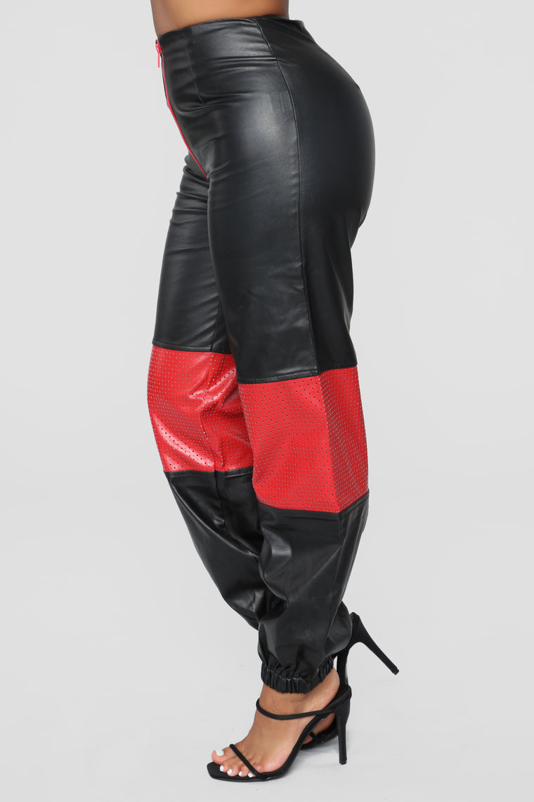 Rebeca High Rise Joggers - Black/Red