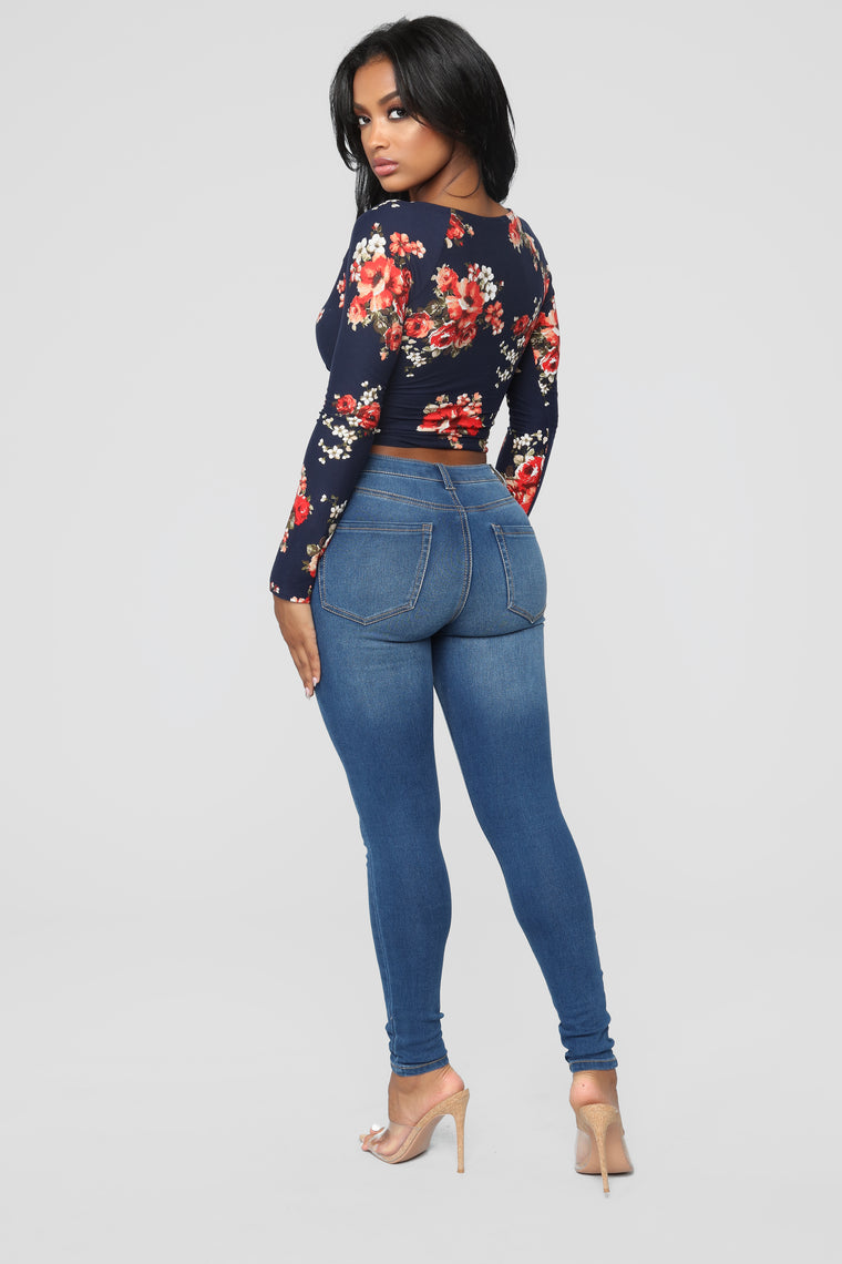 Dustine Floral Wrap Front Top - Navy