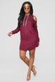 Brush It Off Hoodie Dress - Burgundy