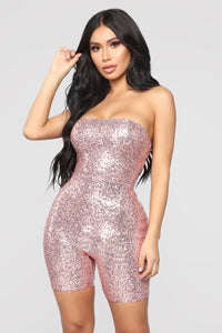 Birthday Bash Sequin Romper - Pink Angle 3