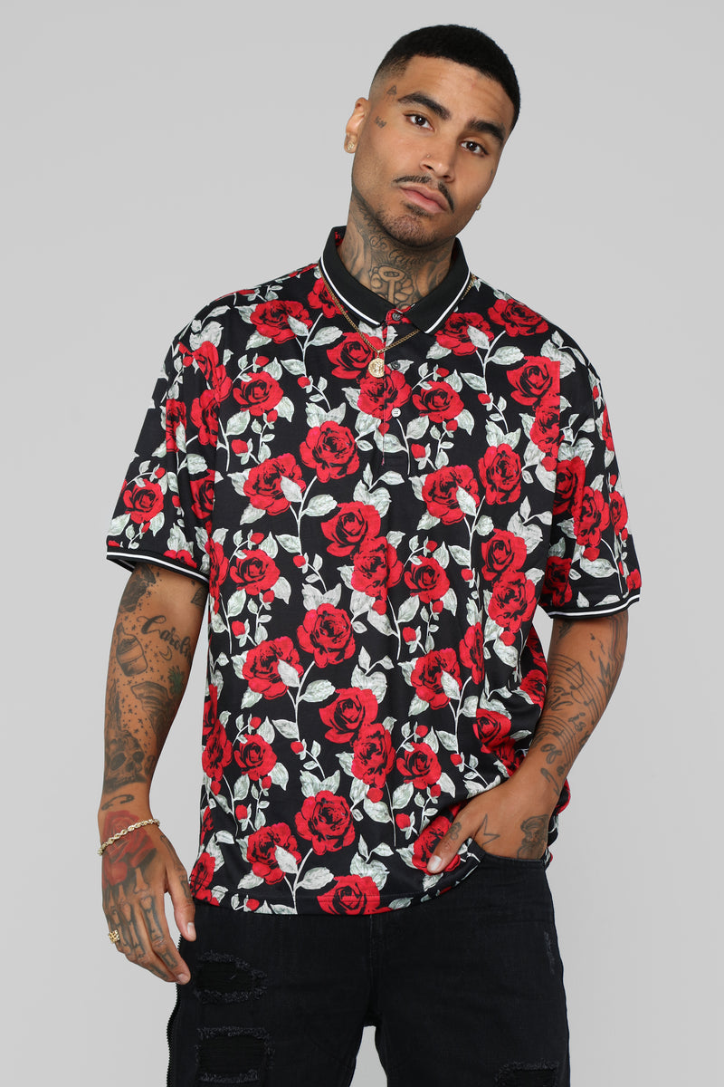 Rose Garden Short Sleeve Polo - Black/Red