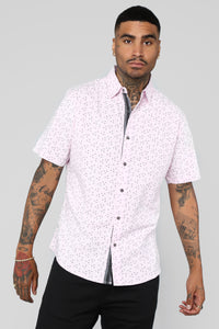 Fred Short Sleeve Woven Top - Pink
