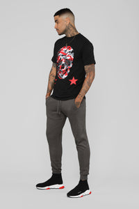 Camo Skull Short Sleeve Tee - Black