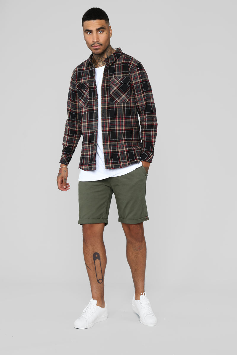 Leon Long Sleeve Flannel Top - Red/Combo