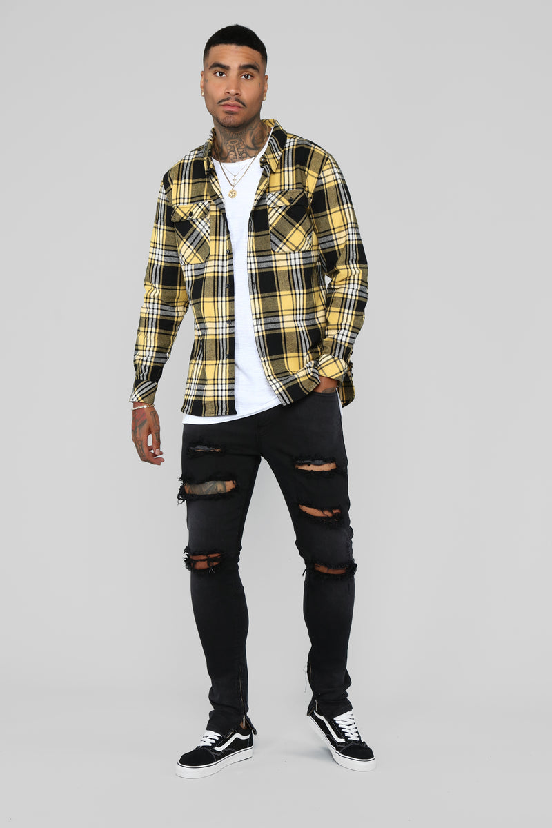 Leon Long Sleeve Flannel Top - Yellow/Combo