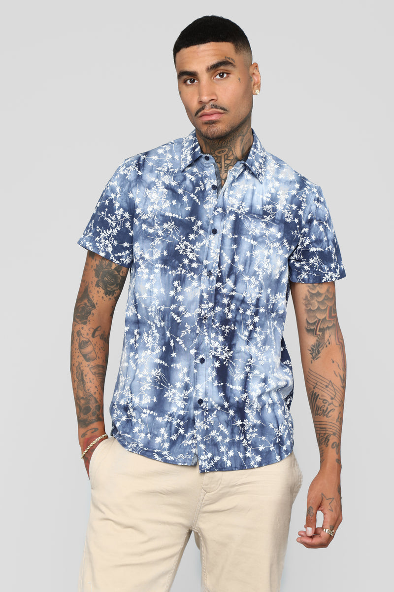 Tie Dye Floral Print Button Up Shirt - Navy