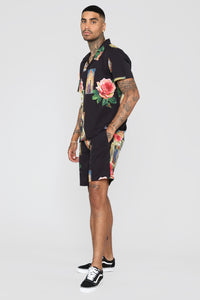 Holy Floral Short Sleeve Woven Top - Black/Combo