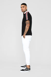 Andre Short Sleeve Polo - Black/White