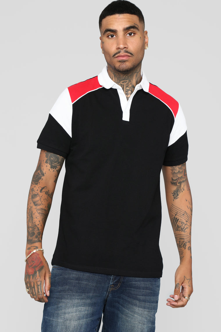 Victor Short Sleeve Polo - Black/Red