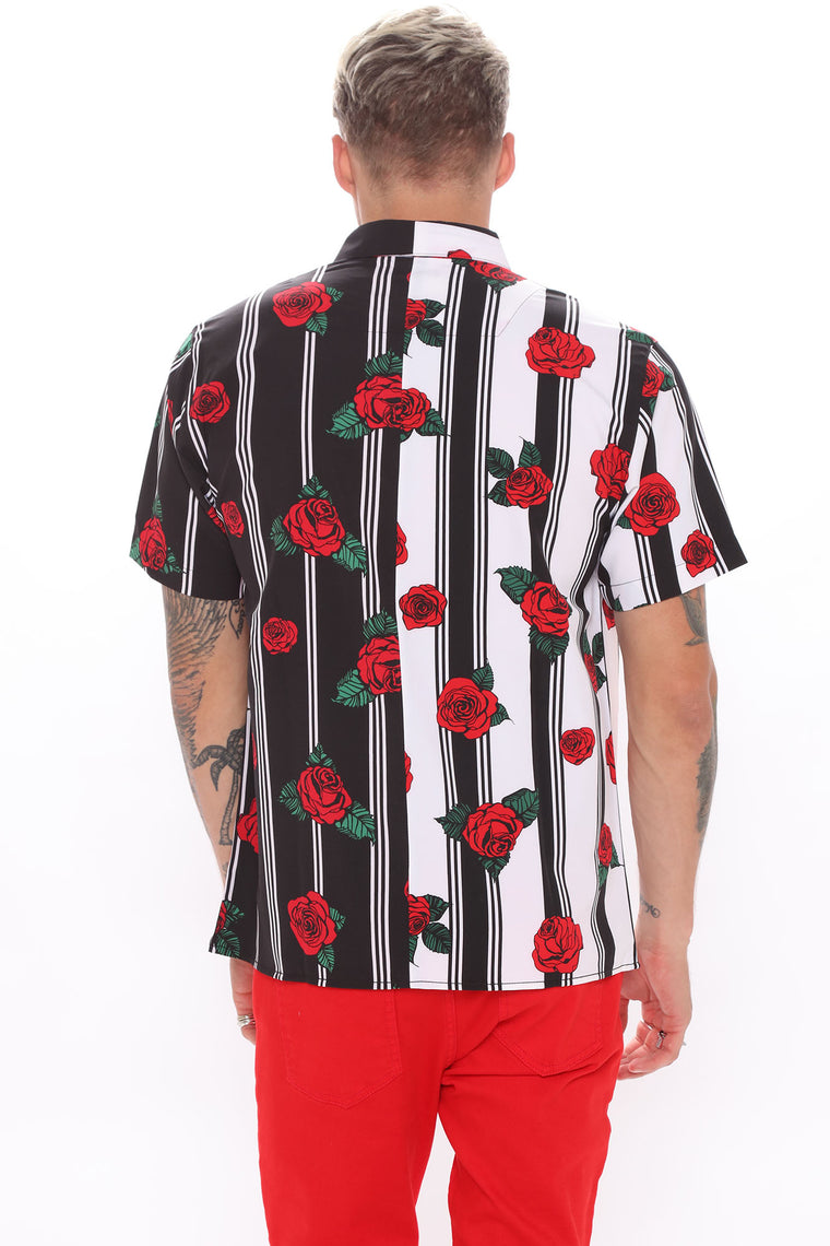 Trippin' Roses Split Woven Top - Black/White