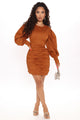 Camille Ruched Mini Dress - Cognac