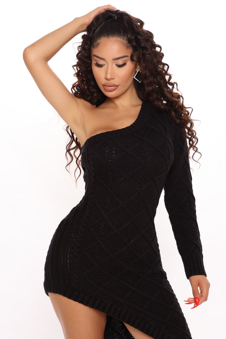 On A Boat One Shoulder Sweater Dress - Black