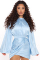 Sharing Secrets Satin Mini Dress - Blue
