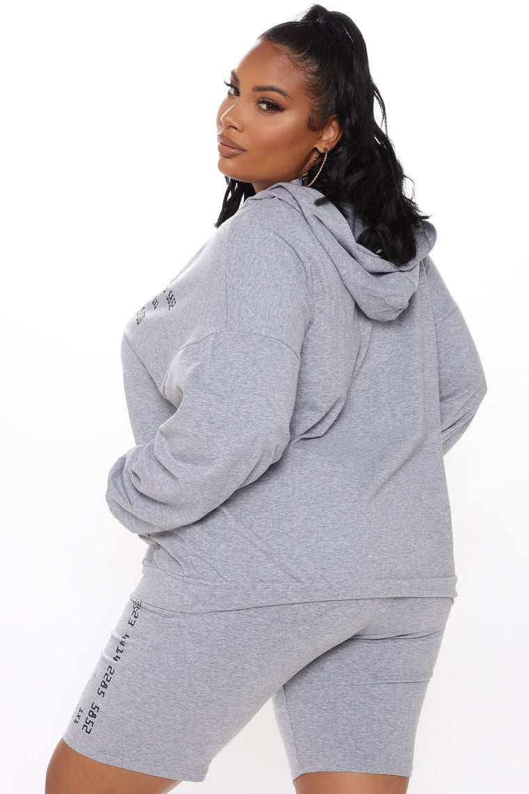 Swiping Cards Hooded Short Set - Heather Grey