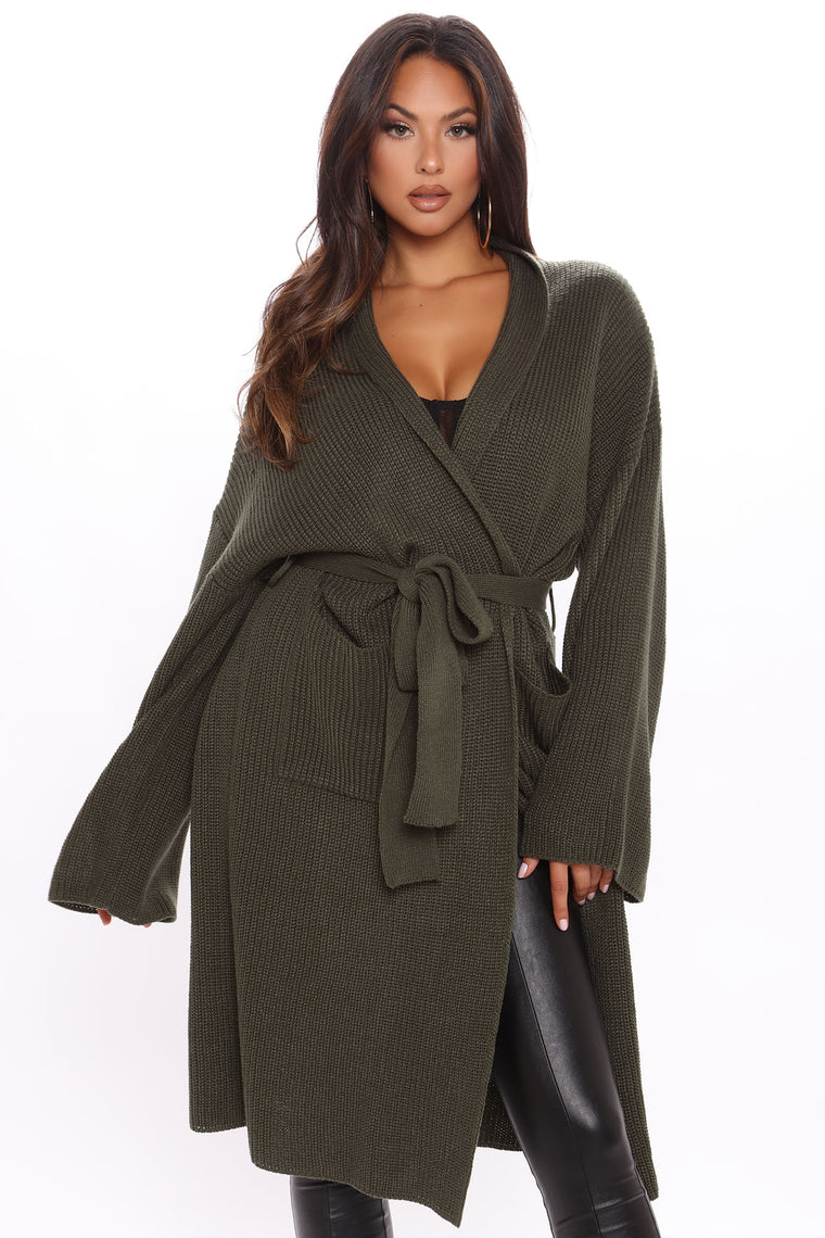 Winter Storm Cardigan - Olive