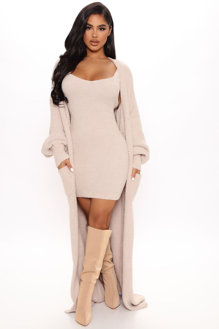 Living In It Cozy Dress Set - Taupe