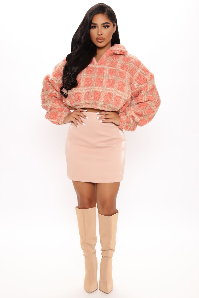 Cute and Cozy Crop Jacket - Pink/combo