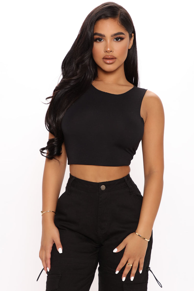 The Beat Goes On High Neck Top - Black