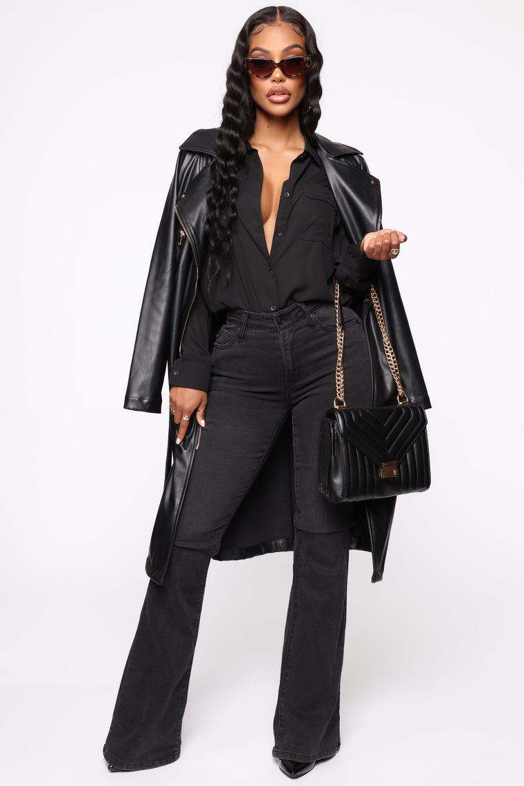 Touch Too Much Faux Leather Coat - Black