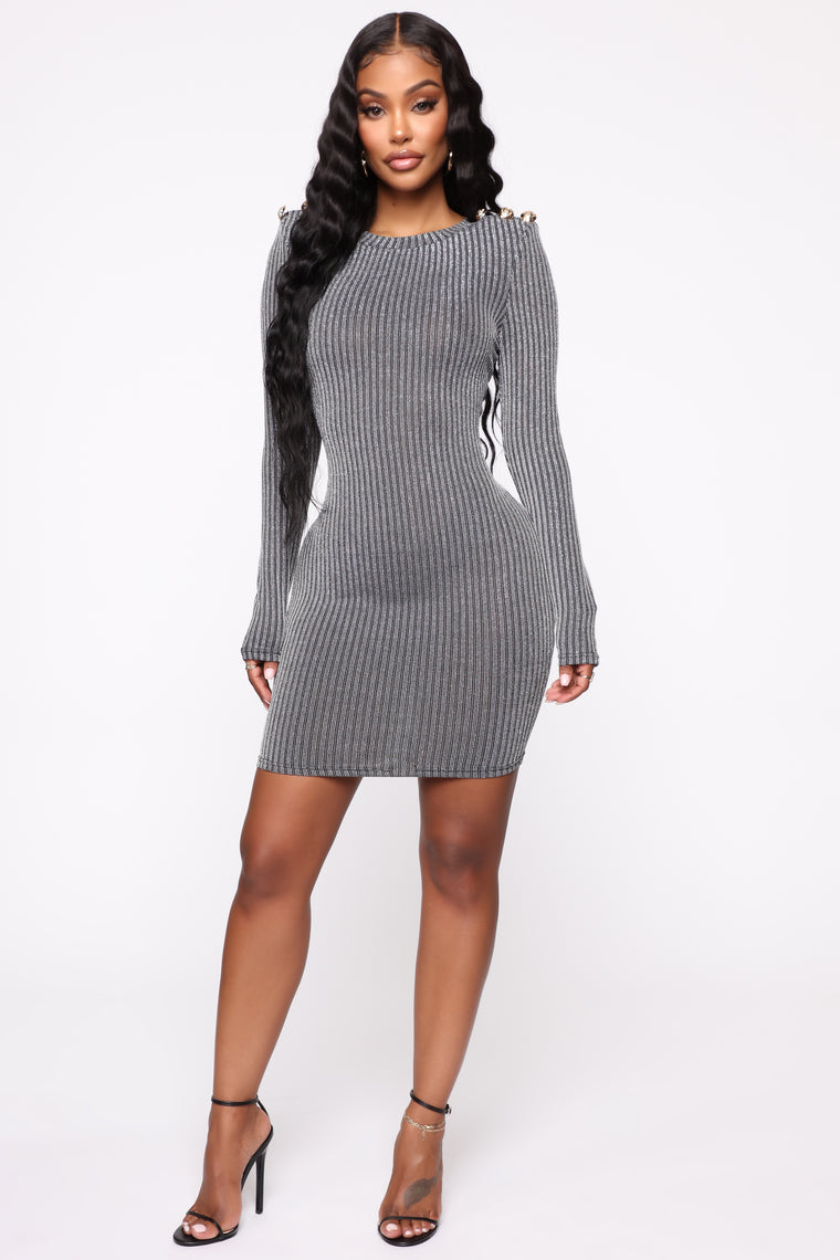 Don't Lose Touch Metallic Mini Dress - Black/Silver