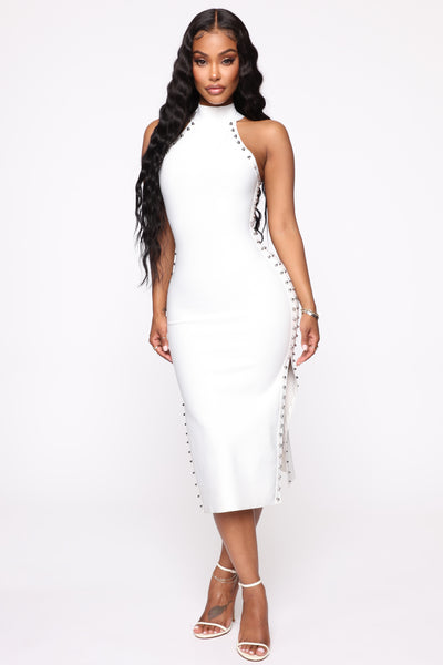 Slit Mock Neck Bandage Dress/Midi Dress