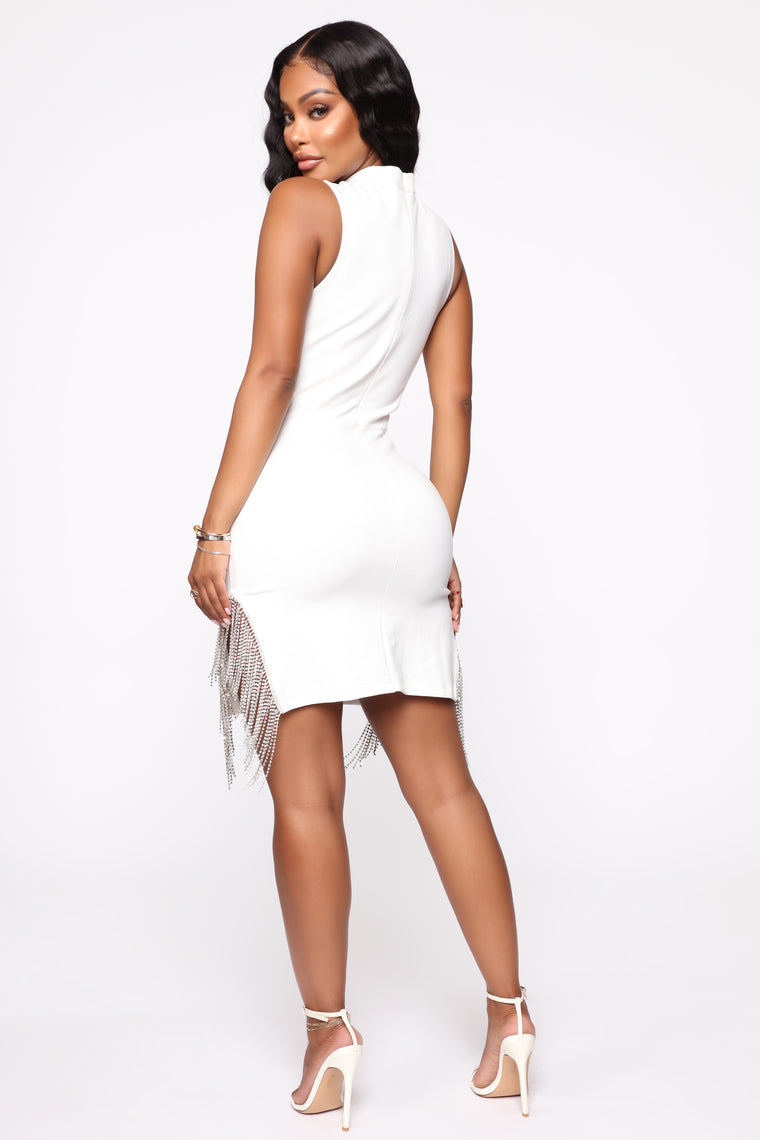 Touch Of Diamonds Mini Dress - Off White