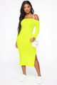 No Ordinary Girl Midi Dress - Lime