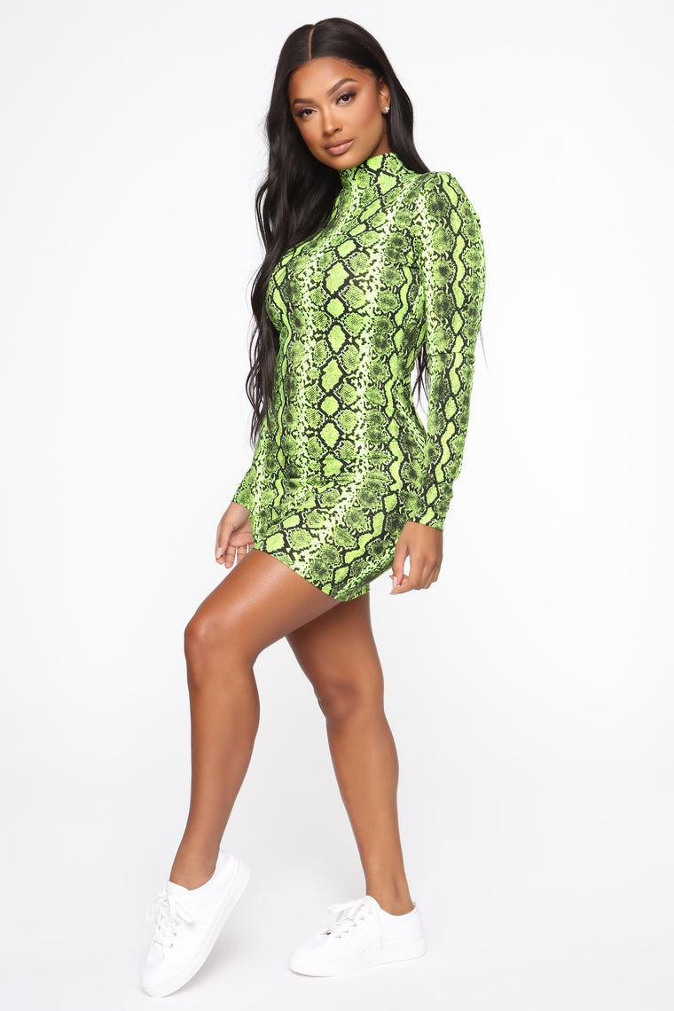 Wildly Entertaining Long Sleeve Mini Dress - Lime