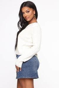 Lilly Lace Up Sweater - Ivory