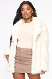 In My Heart Fuzzy Coat - Ivory